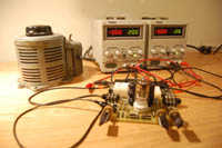 Tube preamp on the test bench with the Variac...